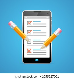 Realistic Detailed 3d Claim Form Phone for Registered Information Data Survey. Vector illustration of Document on Mobile Telephone