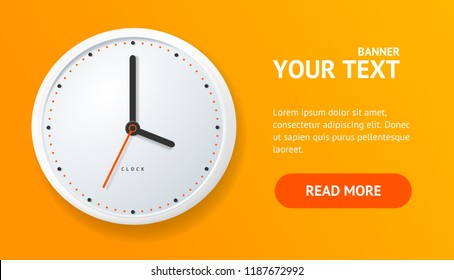 Realistic Detailed 3d Clock Banner Card Horizontal on a Orange with Text for Business Presentation. Vector illustration