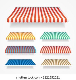 Realistic Detailed 3d Color Awnings Set Different Types for Store, Grocery Shop, Market and Cafe. Vector illustration of Sunshade Tent