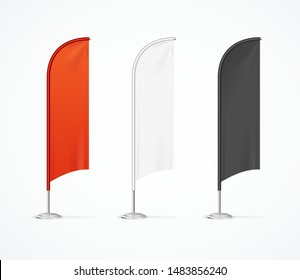Realistic Detailed 3d Color Blank Expo Stand Flag Empty Template Mockup Set for Trade. Vector illustration of Flags