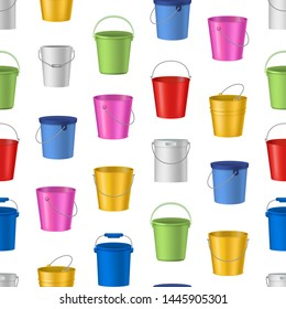Realistic Detailed 3d Color Empty Plastic or Metal Buckets Seamless Pattern Background on a White Pail and Handle. Vector illustration of Bucket