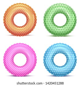 Realistic Detailed 3d Color Inflatable Swim Rings In Different Patterns Set for Safety Swimming and Rescue in Water. Vector illustration of Lifebuoy