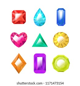 Realistic Detailed 3d Color Jewels Set Different Types Gem or Crystal for Luxury Jewelry . Vector illustration of Precious Stone
