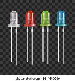 Realistic Detailed 3d Color LED Light Bulb Set on a Transparent Background. Vector illustration of Emitting Diode