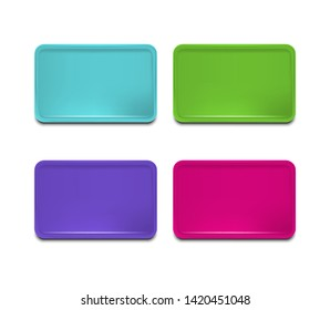 Realistic Detailed 3d Color Plastic Tray Set Rectangular Tools for Restaurant Services. Vector illustration of Trays