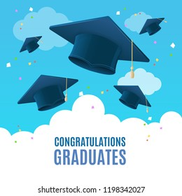 Realistic Detailed 3d Congratulation Graduates Placard Banner Card on a Blue Sky Background. Vector illustration of Flying Caps