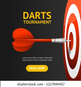 Realistic Detailed 3d Dartboard with Darts Banner Card Competition Entertainment in Tournament Concept for Ad. Vector illustration