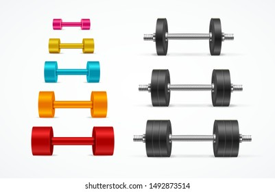 Realistic Detailed 3d Different Color Gym Equipment Dumbbell Set for Training and Exercise. Vector illustration of Dumbbells