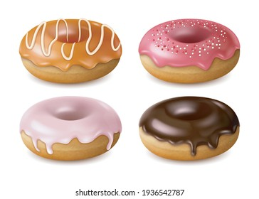 Realistic Detailed 3d Different Donuts Set covered Chocolate, Caramel and Sprinkles. Vector illustration of Glazed Confection Doughnuts