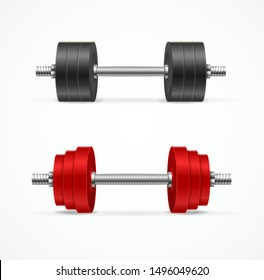 Realistic Detailed 3d Different Dumbbell Set Red and Black Color. Vector illustration of Dumbbells