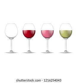 Realistic Detailed 3d Different Types Wine Glass Set on a Transparent Background Empty and Full Wineglass. Vector illustration of Wineglasses