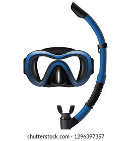 Realistic Detailed 3d Diving Mask and Snorkel Set Underwater Equipment for Sport and Snorkeling Leisure. Vector illustration