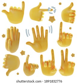 Realistic Detailed 3d Emoji Hands Set Include of Victory, Direction, Pray, Support and Hello Signs. Vector illustration