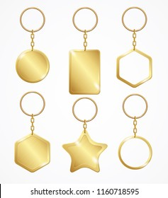 Realistic Detailed 3d Empty Template Shiny Golden Keychain Set for House and Car. Vector illustration of Key Chain or Keyring
