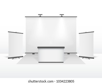Realistic Detailed 3d Exhibition Stand Design Set Roll Up Banner Template Clean White Mock Up Closeup View. Vector illustration