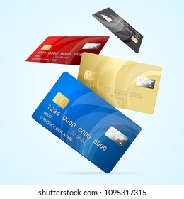 Realistic Detailed 3d Falling Color Business Credit Plastic Card Set Finance Technology for Web Design. Vector illustration of Cards
