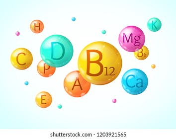 Realistic Detailed 3d Falling Vitamin and Mineral Complex Background Card Symbol of Treatment and Diet. Vector illustration
