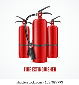 Realistic Detailed 3d Fire Extinguisher Emergency Danger Concept on a White Background for Web and App. Vector illustration