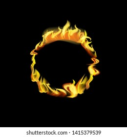 Realistic Detailed 3d Fire Round Frame or Border with Hot Flame Elements for Promotion and Marketing. Vector illustration