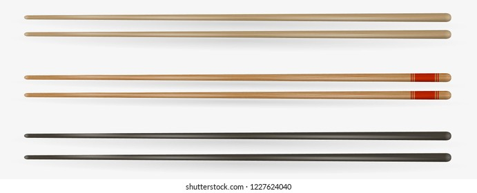 Realistic Detailed 3d Food Chopsticks Set Different Types. Vector illustration of Traditional Asian Bamboo Utensils Color Chopstick.