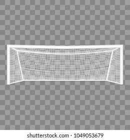 Realistic Detailed 3d Football Goal on a Transparent Background Equipment for Soccer or Football Sport Game. Vector illustration