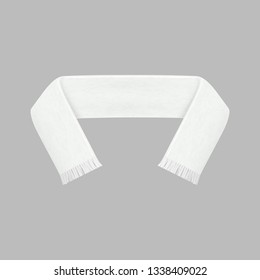 Realistic Detailed 3d Football White Blank Fan Scarf Soccer Sport Symbol Support. Vector illustration of Competition Accessory