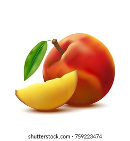 Realistic Detailed 3d Fresh Raw Whole Peach Fruit and Slice Isolated on White Background Ripe, Sweet Dessert. Vector illustration of Nectarine