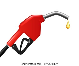 Realistic Detailed 3d Fuel Nozzle with Drop Symbol of Petrol or Gasoline Station. Vector illustration of Filling