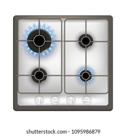 Realistic Detailed 3d Gas Stove Isolated on White Background Burner Flame of Domestic Cooker. Vector illustration of Appliance Kitchen