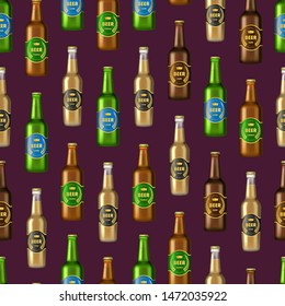 Realistic Detailed 3d Glass Beer Bottles Seamless Pattern Background with Labels. Vector illustration of Alcohol Drink