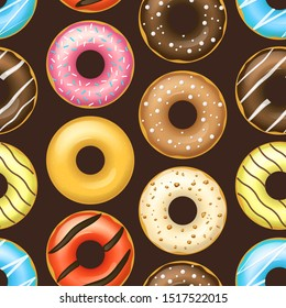 Realistic Detailed 3d Glazed Donuts Seamless Pattern Background on a Brown Sweet Food Tasty Product Bakery. Vector illustration of Dessert Snack Doughnut