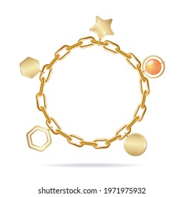 Realistic Detailed 3d Gold Chain Bracelet with Pendants. Vector