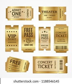 Realistic Detailed 3d Golden Tickets Set Concept Free Admission Entertainment, Show, Performance and Theatre. Vector illustration of Ticket