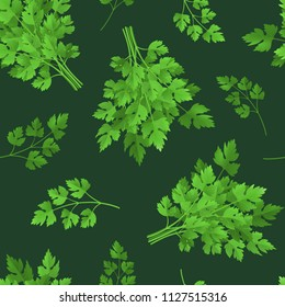 Realistic Detailed 3d Green Raw Parsley Seamless Pattern Background Spice Ingredient for Healthy Food or Salad. Vector illustration of Herb Branch Condiment