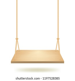 Realistic Detailed 3d Hanging Wooden Swing with Rope for Playground, Garden or Park Outdoor Rest. Vector illustration