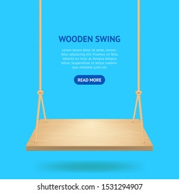 Realistic Detailed 3d Hanging Wooden Swing with Rope Card for Playground, Garden or Park Outdoor Rest. Vector illustration