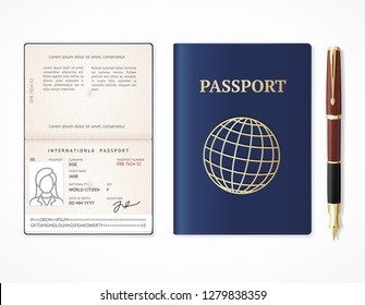 Realistic Detailed 3d International Passport Blank Empty Template Mockup and Fountain Pen Document for Travel. Vector illustration