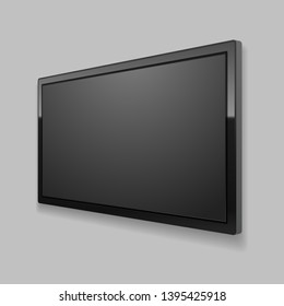 Realistic Detailed 3d Led TV Screen on a Grey Background Black Monitor Perspective View. Vector illustration of Electronic Television