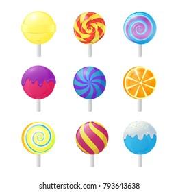 Realistic Detailed 3d Lollipops Candy Set Sugar Sweet Food Dessert Caramel on Stick. Vector illustration of Lollipop Icons