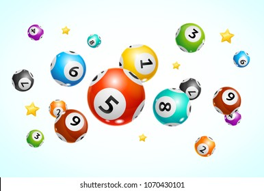 Realistic Detailed 3d Lotto Ball Concept Card Background. Vector illustration of Motion Round Lottery Balls and Stars