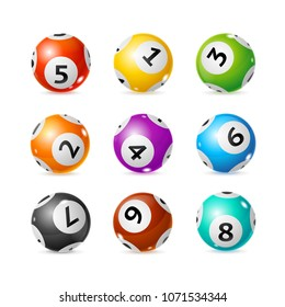 Realistic Detailed 3d Lotto Ball Set Symbol of Chance and Luck. Vector illustration of Glossy Round Lottery Balls