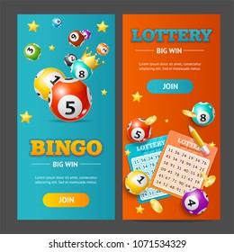 Realistic Detailed 3d Lotto Banner Vertical Set for Web and App Design. Vector illustration of Banners Lottery Leisure
