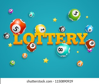 Realistic Detailed 3d Lotto Bingo Concept Card Background Symbol of Game on a Blue. Vector illustration of Falling Lottery Balls