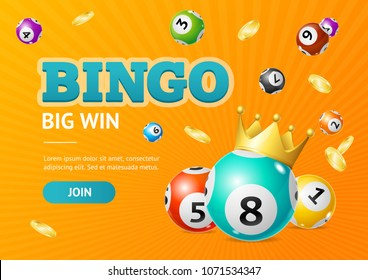 Realistic Detailed 3d Lotto Concept Bingo Big Win Card Background on a Orange. Vector illustration of Lottery Balls