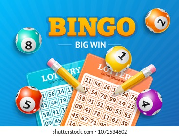 Realistic Detailed 3d Lotto Concept Bingo Big Win Card Background on a Blue. Vector illustration of Lottery Elements