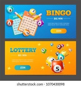 Realistic Detailed 3d Lotto Game Banner Horizontal Set Place for your Text. Vector illustration of Banners Lottery