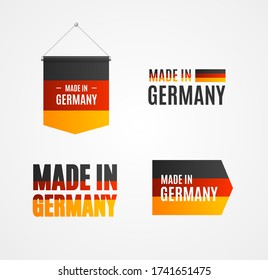 Realistic Detailed 3d Made in Germany Sign Label Set Symbol of Quality. Vector illustration of Germany Labels