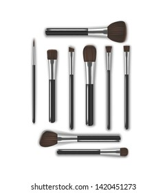 Realistic Detailed 3d Makeup Tools Brush for Face Blush, Eyes, Eyebrows and Lipstick. Vector illustration of Professional Cosmetic Elements