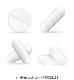 Realistic Detailed 3d Medical Different Tabletes and Pills Set Isolated on White Background. Vector illustration of Tablete and Pill