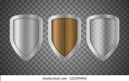 Realistic Detailed 3d Metallic Wooden and Transparent Shields Set Closeup View Symbol of Protection and Security. Vector illustration of Shield